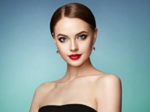 Fonds d'écran Aux cheveux bruns Visage Regard fixé Arrière-plan coloré Maquillage Oleg Gekman Filles