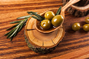 Bilder Oliven Bretter Löffel das Essen