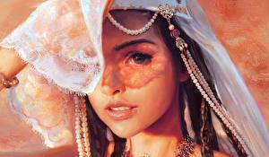 Hintergrundbilder Gezeichnet Perlen Blick Hübsche Gesicht Mandy Jurgens junge Frauen