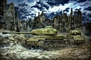 Wallpaper Painting Art Tanks Russian IS-2