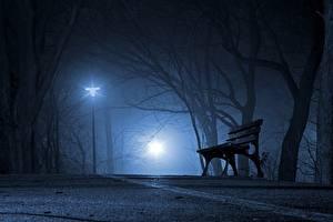 Bilder Parks Nacht Bäume Straßenlaterne Bank (Möbel) Nebel Städte