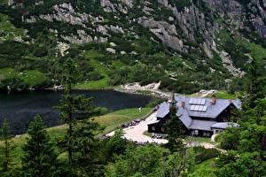 Wallpaper Poland Lake Mountains Carpathians Hotel Crag Nature