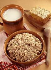 Fotos Brei Milch Tischdecke Honig Löffel Oatmeal Lebensmittel