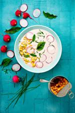 Bilder Radieschen Kukuruz Suppe Teller das Essen