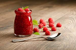 Pictures Raspberry Jam Boards Jar Spoon Food