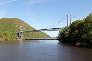 Fonds d'écran Rivières Ponts USA Hudson river, Bear Mountain Bridge, state of new York Nature images