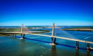 Papéis de parede Rios Pontes EUA Ravenel Bridge, Cooper river, South Carolina