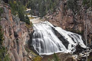 Bilder Flusse Wasserfall Park Vereinigte Staaten Felsen Yellowstone Gibbon Falls, Gibbon River