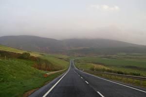 Wallpaper Roads Fog Hill