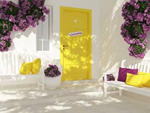 Hintergrundbilder Rose Sträuße Tür Kissen Bank (Möbel) welcome Blüte 3D-Grafik