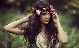 Image Rose Brown haired Hands Hair Wreath female
