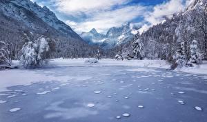 Bilder Landschaftsfotografie Berg Wälder Winter See Slowenien Schnee Alpen Kranjska Gora Lake Jasna Julian Alps Natur
