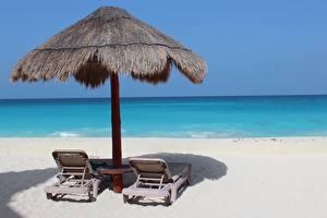 Bilder Meer Mexiko Sonnenliege Strände Sand Cancun Natur