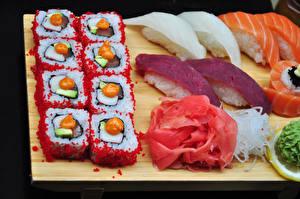 Bilder Meeresfrüchte Sushi Reis Fische - Lebensmittel Caviar