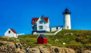 Hintergrundbilder Stein Leuchtturm Gebäude USA Cape Neddick, Maine Städte