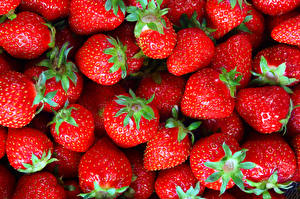 Bakgrundsbilder på skrivbordet Jordgubbar Textur Närbild Röd Mat