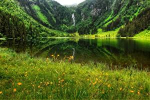 Hintergrundbilder Sommer See Gebirge Deutschland Gras Bergsee
