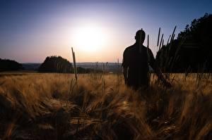 Fotos Sonnenaufgänge und Sonnenuntergänge Acker Mann Silhouetten Natur