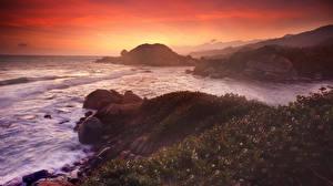 Pictures Sunrises and sunsets Sea Coast Stones Nature