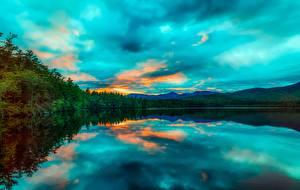 Papéis de parede Amanheceres e entardeceres EUA Lago Fotografia de paisagem Chocorua Lake, New Hampshire