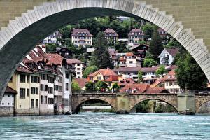 Fonds d'écran Suisse Berne Ponts Rivière Maison Arc architecture river Aare