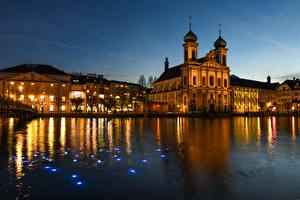Wallpapers Switzerland Evening Sunrise and sunset Church Street lights Lucerne, Festival of lights, Jesuit Church of St. Francis Xavier Cities
