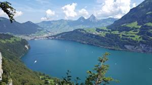 Fonds d'écran Suisse Lac Montagnes Photographie de paysage Brunnen, Canton of Schwyz, Lake Lucerne Nature