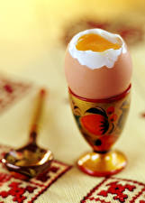 Fotos Tischdecke Großansicht Ei Löffel Lebensmittel