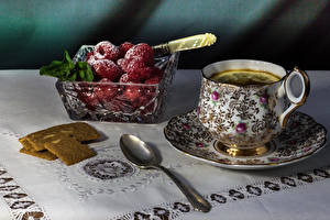 Images Tea Berry Raspberry Powdered sugar Cup Spoon Food