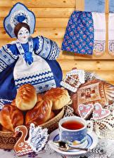 壁纸、、ティー、テーブルクロス、クッキー、ロールパン、人形、ティーカップ、食品