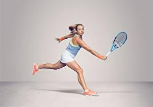 Bilder Tennis Laufsport Bein Hand Grauer Hintergrund Anett Kontaveit Estonian Sport Mädchens