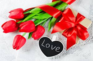 Pictures Tulips Love Red Gifts Bowknot English flower