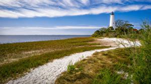 Hintergrundbilder Vereinigte Staaten Küste Leuchtturm Florida Gras Sand