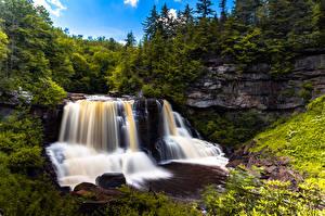 Fotos USA Wald Flusse Wasserfall Felsen West Virginia Natur