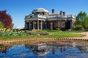 Bilder USA Gebäude Teich Herrenhaus Design Monticello Städte