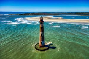 Papéis de parede EUA Ilha Oceano De acima Horizonte Velha Morris island, South Carolina