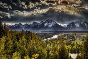 Photo USA Mountains Forests Landscape photography Clouds HDRI Tetons, Wyoming, Grand Teton National Park