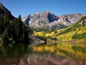 Papéis de parede Estados Unidos Montanhas Lago Outono Fotografia de paisagem Penhasco Maroon lake, Rocky Mountains, Colorado
