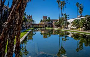 Fonds d'écran USA Parc Maison Étang San Diego Arecaceae Balboa Park Nature images