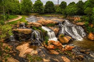 Papéis de parede EUA Rios Pedras Reedy River, Greenville, South Carolina