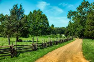 Pictures USA Roads Grass Fence Trees New Jersey Nature