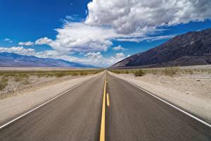 Bilder Vereinigte Staaten Straße Himmel Asphalt Kalifornien Wolke Death Valley National Park Natur