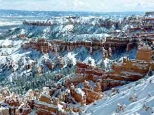 Fonds d'écran USA Hiver Gorge Falaise Neige Nature images
