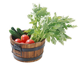 Image Vegetables Tomatoes Cucumbers White background Bucket Food