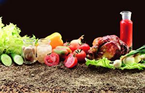 Hintergrundbilder Gemüse Tomate Knoblauch Gurke Hühnerbraten Weckglas