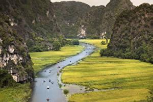 Hintergrundbilder Vietnam Gebirge Flusse Boot Felsen Province Of Ninh Binh Natur