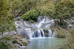 Hintergrundbilder Vietnam Steine Wasserfall Fotograf province lang son Natur