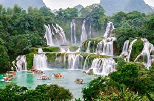 Hintergrundbilder Wasserfall Boot China Vietnam Detian, Chungking Natur