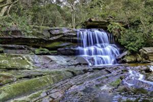 Wallpaper Waterfalls Stones Moss Brook Nature