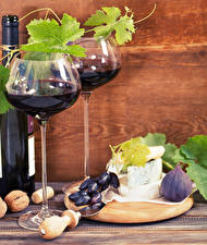 Photo Wine Grapes Ficus carica Cheese Nuts Stemware Bottles Food
